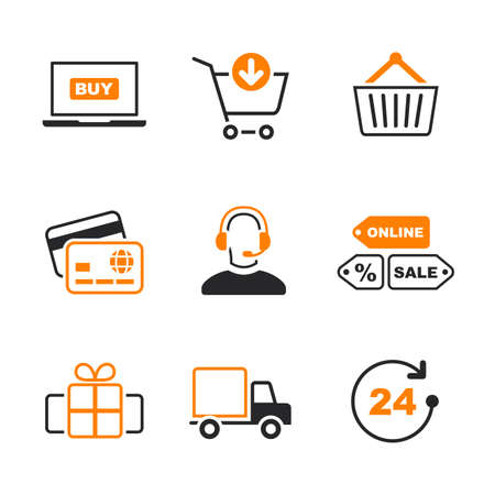 Online shopping simple vector icon set - shop, computer, cart, delivery, card, gift, operator