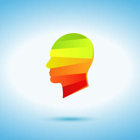 talented: Hot head on the blue background - colored icon