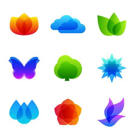 butterfly tree: Colored nature vector icon set - fire, cloud, leaves, butterfly, tree, snowflake, drops, flower and   bird