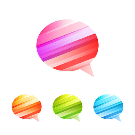 argumentation: Colored conversation on the white background - vector icon set
