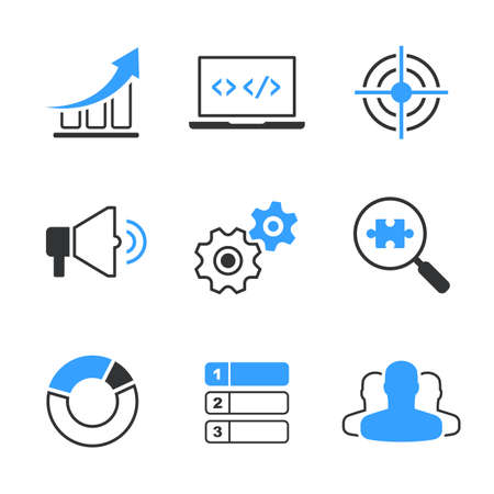 SEO simple vector icon set - graph, computer, target, megafon, wheels, search, diagram, position and   clients