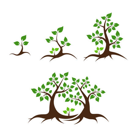 young teen: Tree family vector illustration - orphan child, single parent, mother, father and child