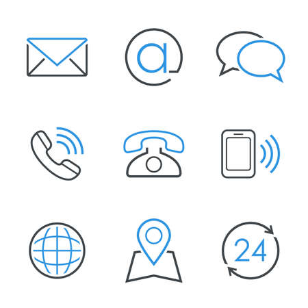 to phone calls: Contacts simple vector icon set  envelope email chat telephone mobile phone map globe and business hours Illustration