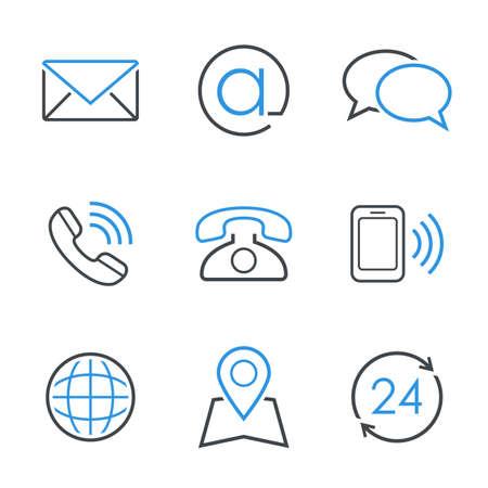 Kontakt prosty zestaw ikon wektorowych e-mail koperta rozmowy telefonicznej telefonu komórkowego mapa globu i biznesowych godzin