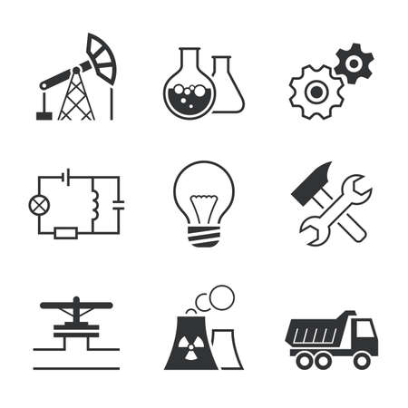 screw key: Industry simple vector icon set  oil extraction chemistry mechanics electronics lamp assembling   pipe line factory truck