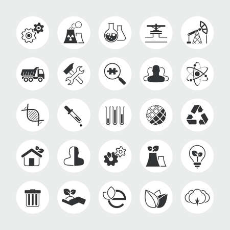 screw key: Industry and ecology total vector icon set  industrial eco plant nature factory chemistry laboratory environment pollution etc