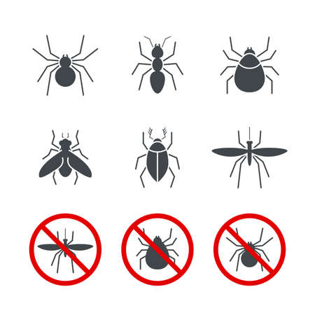 Insect simple vector icon set - bug, ant, tick, spider, fly and mosquito