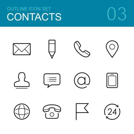 sobres para carta: Contactos vector silueta conjunto de iconos - sobre, correo, pluma, teléfono, dirección, hombre, charla y mapa
