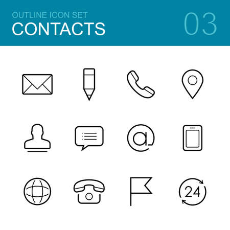 phone support: Contacts vector outline icon set - envelope, mail, pen, phone, address, man, chat and map