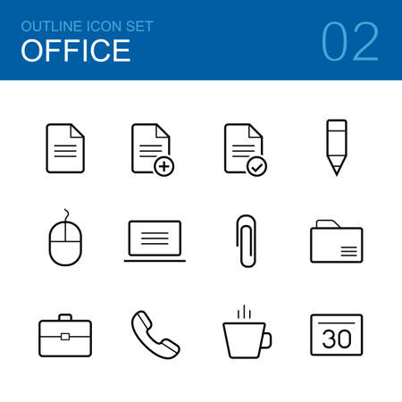 document icon: Office vector outline icon set - document, pen, computer, mouse, paper clip, folder, briefcase, phone, cup and calendar