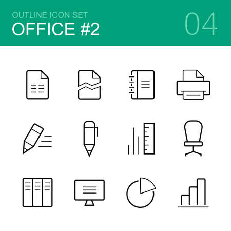 pen and paper: Office vector outline icon set - file, pen, pencil, computer, folder, printer, ruler, chair, diagram    and graph