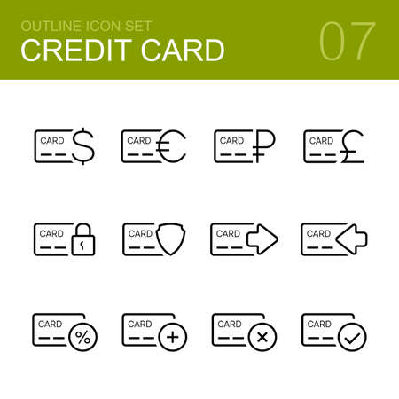 plastic card: Credit card vector outline icon set - credit card, debit card, plastic card