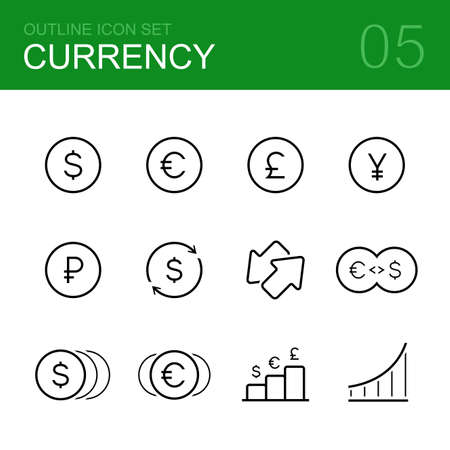 dollar: Currency vector outline icon set - dollar, euro, ruble, pound, yen, coin and money Illustration