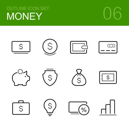 buckler: Money vector outline icon set - cash, wallet, credit card, moneybox, shield, fortune, bank, idea, business and graph