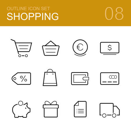 money box: Shopping vector outline icon set - cart, delivery, wallet, card, money box, cash, sale, gift and shopping list