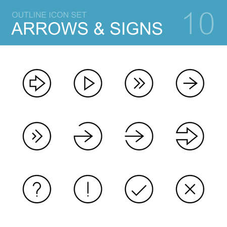 Different arrows and signs - vector outline icon set Illustration