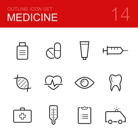 ataque al corazón: Vector Médico icono conjunto contorno - medicina, píldora, tableta, drogas, tubo de pasta dental, jeringa, dna, corazón, ojo, diente, termómetro, la prescripción y la ambulancia Vectores