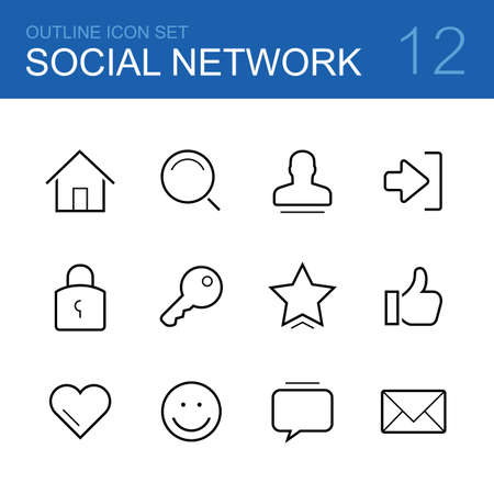 home search: Social network vector outline icon set - home, search, man, log in, lock, key, star, thumbs up, heart, smile, chat and mail