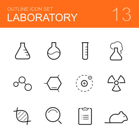 laboratory: Chemistry laboratory vector outline icon set - bottle, tube, reaction, molecule, atom, radiation, dna, research, report and rat