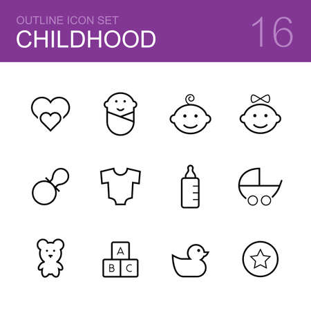 teat: Childhood vector outline icon set - love, child, boy, girl, dummy, suit, bottle, baby carriage, bear, duck, ball and bricks