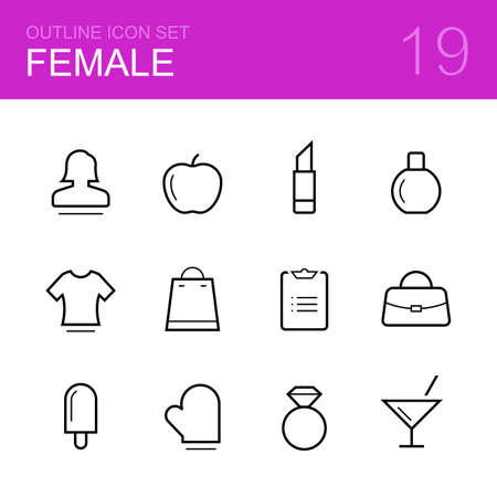 shopping list: Female vector outline icon set - woman, apple, perfume, lipstick, t-shirt, bag, shopping list, ice-cream, cooking, ring and cocktail