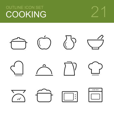 boil: Cooking vector outline icon set - saucepan, apple, carafe, dish, oven glove, kettle, tray, cook, scales, boil, microwave and gas cooker