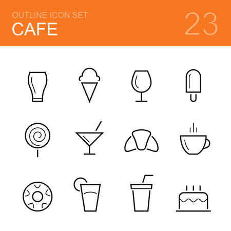 fizzy water: Cafe vector outline icon set - glass, ice cream, popsicle, wineglass, lollipop, cocktail, croissant, cup of    coffee, donut, juice, fizzy water and cake