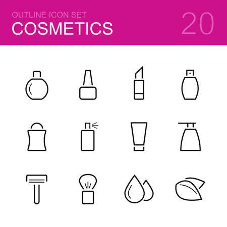 hair spray: Cosmetics vector outline icon set - perfume, polish, lipstick, deodorant, bottle, spray, cream, soap, razor, brush, drops and leaves Illustration