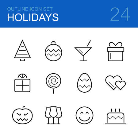 parejas felices: Vacaciones vector icono conjunto contorno - �rbol de Navidad, decoraciones, c�ctel, regalo, caramelo, huevo de Pascua, corazones, de calabaza de Halloween, copas, la sonrisa y la torta de cumplea�os