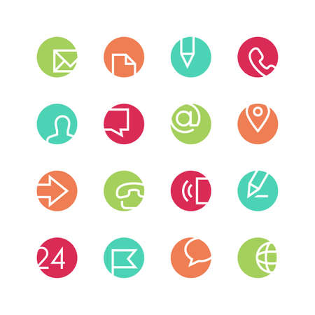 contact person: Contacts icon set - vector minimalist. Different symbols on the colored background.