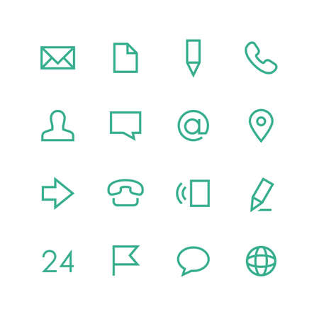 Contacts icon set - vector minimalist. Different symbols on the white background. 向量圖像