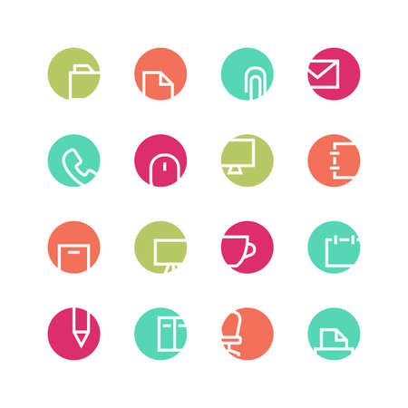 paper fastener: Office icon set - vector minimalist. Different symbols on the colored background.