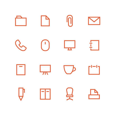 paper fastener: Office icon set - vector minimalist. Different symbols on the white background.