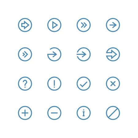 화살표 및 기호 아이콘을 설정 - 벡터 미니멀리스트입니다. 흰색 배경에 다른 기호입니다.