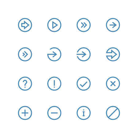 Arrows and symbols icon set - vector minimalist. Different symbols on the white background.