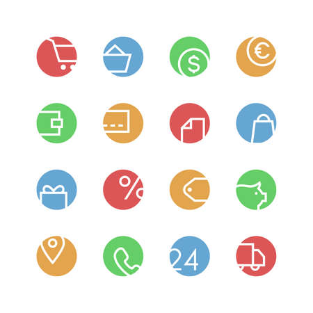 retail: Shop icon set - vector minimalist. Different symbols on the colored background.