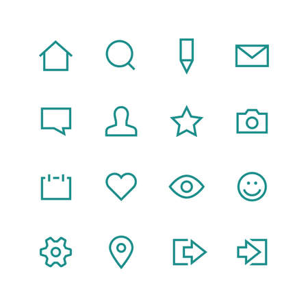log out: Social network icon set - vector minimalist. Different symbols on the white background.
