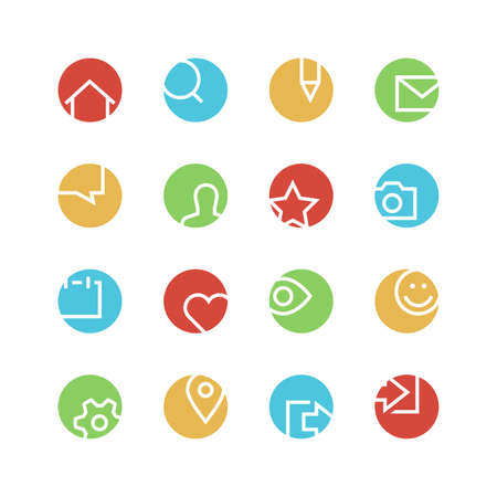log out: Social network icon set - vector minimalist. Different symbols on the colored background.