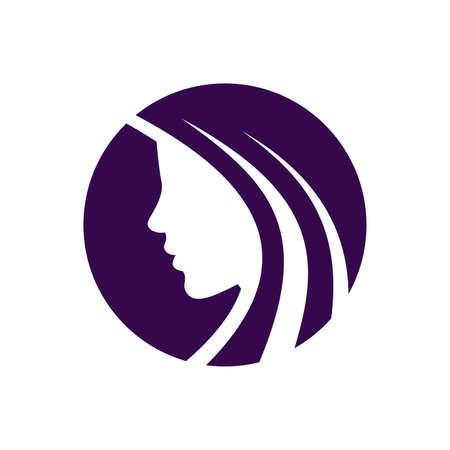 Mooi meisje met lang haar op de witte achtergrond - vector logo