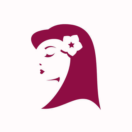 beauty woman face: Retro girl with flower in the hair on the white background - vector logo