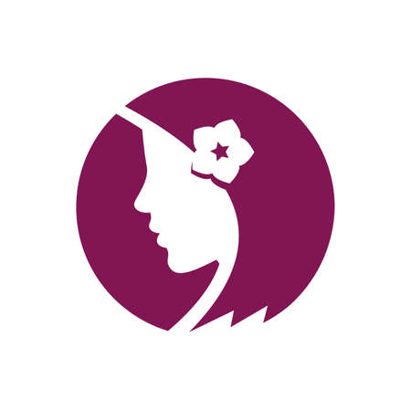 Beautiful girl with flower in the hair on the white background - vector logo