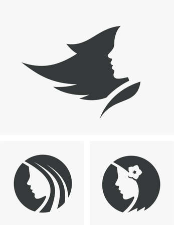 Silhouettes of the beautiful girl with long hair - vector logo