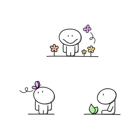 kind: Cute man, butterfly and flowers - springtime cartoon vector illustration