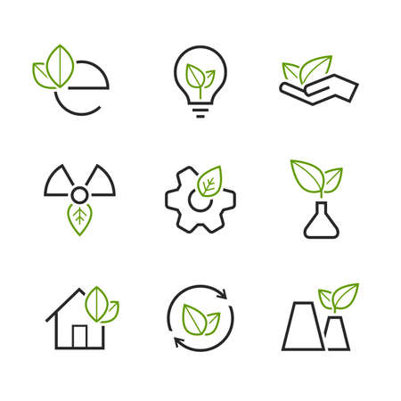 wheel house: Ecology simple icon set - green leaves, palm, bulb, wheel, house, plant, sprout, and  others symbols Illustration