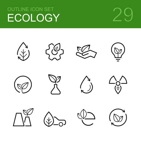 Ecology outline icon set - leaf, leaves, palm, bulb, wheel, plant, sprout, tube, car and others symbols Illustration