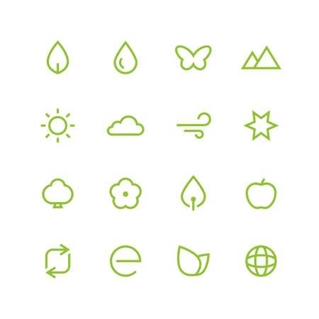 spring balance: Nature icon set - vector minimalist. Different symbols on the white background. Illustration