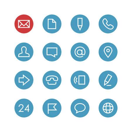 Kontakt zestaw ikon wektorowych - różne symbole na niebieskim tle rundzie.
