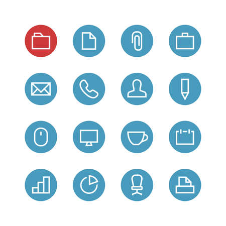 file clerk: Office vector icon set - different symbols on the round blue background.