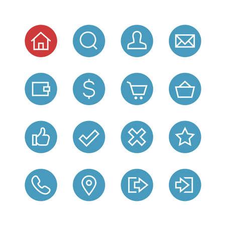 Website vector icon set - verschillende symbolen op de ronde blauwe achtergrond. Stock Illustratie