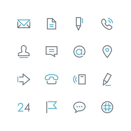 Contacts vector icon set - outline colored symbols on the white background.